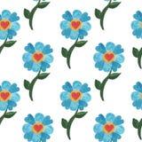 与水彩蓝色逗人喜爱的花的无缝的样式与心脏 库存照片