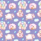 与水彩逗人喜爱的桃红色绵羊、气球和云彩例证的无缝的样式 皇族释放例证