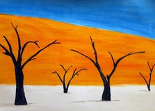与水彩-死亡谷的风景 库存照片