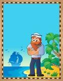 与水手的羊皮纸海滩的 库存例证