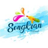 与水枪的传染媒介惊人的songkran节日 库存照片