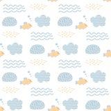 与水母、壳和鱼的传染媒介无缝的样式 婴孩印刷品 斯堪的纳维亚动机 皇族释放例证