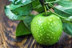 与水滴和叶子在木桌上,宏指令的一个成熟绿色苹果在选择聚焦 库存照片