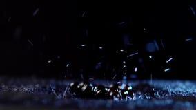 与水滴的成熟无核小葡萄干莓果移动反对黑背景 股票录像