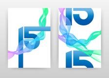 15与水色蓝色五颜六色的挥动的线的数字为年终报告,小册子,飞行物,海报设计 挥动的线背景传染媒介 免版税库存照片