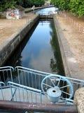 与水运河的风景在里尔,法国 免版税图库摄影