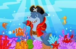 与汇集鱼的逗人喜爱的鲨鱼海盗动画片 库存照片