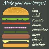 与汉堡成份的变异的例证 库存例证