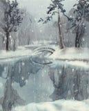 与池塘水彩的冬天风景 库存照片