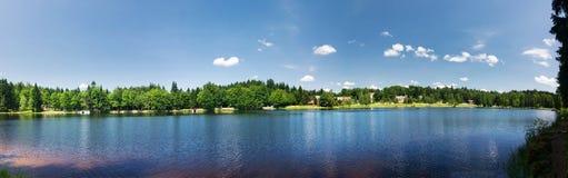 与池塘的夏天风景-全景 免版税库存照片