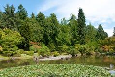 与池塘的日本庭院横向 免版税图库摄影