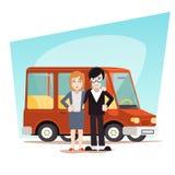 与汽车旅行范Icon的减速火箭的动画片家庭 免版税库存图片