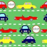 与汽车的无缝的模式 免版税库存图片