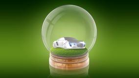 与汽车的透明球形球在里面草 3d翻译 免版税库存照片