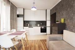 与沙发、餐桌和厨房的现代明亮和舒适客厅室内设计 灰色和白色单室公寓 免版税库存照片
