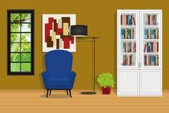 与沙发和书橱的阅览室内部 库存图片