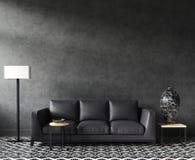 与沙发和装饰,黑时髦的顶楼客厅的家庭内部大模型 免版税库存图片