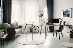 与沙发有坐垫的,下自行车的明亮的客厅内部 免版税库存图片