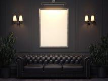 与沙发的黑暗的经典内部和在墙壁上的画框 3d翻译 库存照片