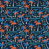 与沙子、棕榈和波浪的无缝的海滩传染媒介样式 传染媒介夏威夷人背景 织品设计 免版税库存照片