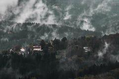 与沙子岩石montains的无表情的黑暗的有薄雾的多雨早晨风景在秋天颜色的捷克萨克森瑞士 免版税图库摄影
