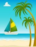 与沙子海滩棕榈和游艇,动画片传染媒介例证的海景 免版税库存照片