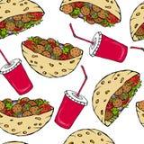 与沙拉三明治皮塔饼或丸子沙拉的无缝的不尽的样式在口袋面包和可乐盖帽 健康快餐面包店 免版税库存图片