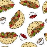 与沙拉三明治皮塔饼或丸子沙拉的无缝的不尽的样式在口袋面包 阿拉伯以色列健康快餐面包店 免版税库存照片