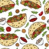 与沙拉三明治皮塔饼或丸子沙拉的无缝的不尽的样式在口袋面包 阿拉伯以色列健康快餐面包店 免版税库存图片