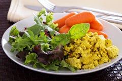 与沙拉叶子的爬行的豆腐早餐 免版税库存照片