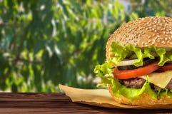 与沙拉成份的可口乳酪汉堡在一张土气木桌上的一个烤牛肉小馅饼与copyspace 库存图片