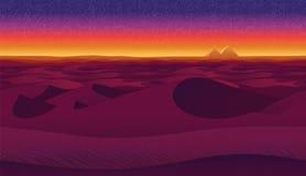 与沙漠的水平的无缝的背景 库存例证
