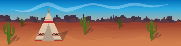 与沙漠,圆锥形帐蓬,现出轮廓的仙人掌的水平的传染媒介横幅 免版税图库摄影