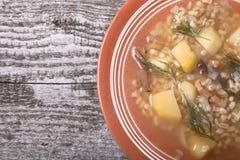 与沙粒、蘑菇、土豆和莳萝的汤在老w的一个碗 免版税库存图片