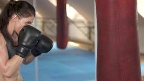 与沙袋的美好的拳击妇女训练在健身演播室 剧烈力量 女性适合的身体 慢的行动 股票视频