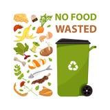 与没有食品废弃部的文本的海报 有食物垃圾的动画片大型垃圾桶 食品加工和天然肥料的,有机废料例证, 库存照片