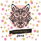 2018与沮丧` s或狼` s顶头风格化毛利人面孔纹身花刺的新年卡片 库存图片