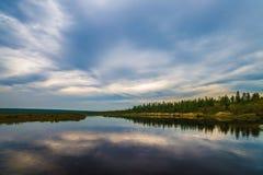 与河、森林、峭壁和波浪的夏天风景 免版税图库摄影
