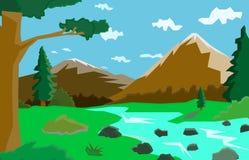 与河和树,图表例证的山风景, 图库摄影