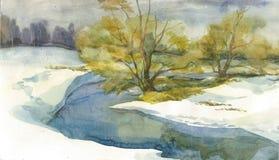 与河的冬天风景 免版税库存照片