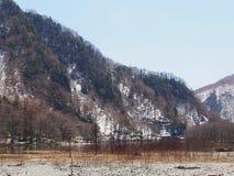 与河的斯诺伊山前面的 库存照片