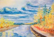 与河的美好的秋天风景 库存照片