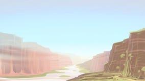 与河风景的峡谷 库存例证