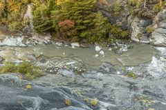 与河La blanche洪流的峡谷 库存图片