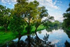 与河Mukhavets的夏天风景 免版税库存照片