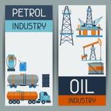 与油和汽油的工业横幅设计 免版税图库摄影