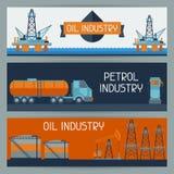 与油和汽油的工业横幅设计 图库摄影