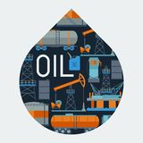 与油和汽油的工业背景设计 免版税库存图片