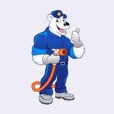 与油气泵浦热化的北极熊 免版税库存照片