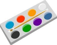 与油漆和刷子的艺术alette 免版税库存图片